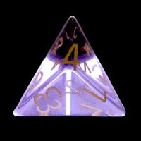 TDSO Zircon Glass Amethyst with Engraved Numbers 16mm Precious Gem  D4 Dice