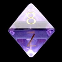 TDSO Zircon Glass Amethyst with Engraved Numbers 16mm Precious Gem D8 Dice