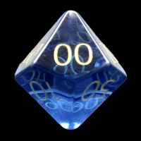 TDSO Zircon Glass Sapphire with Engraved Numbers 16mm Precious Gem Percentile Dice