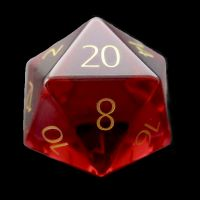 TDSO Zircon Glass Ruby with Engraved Numbers 16mm Precious Gem D20 Dice