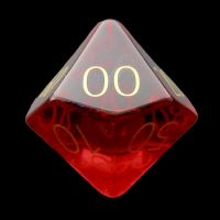 TDSO Zircon Glass Ruby with Engraved Numbers 16mm Precious Gem Percentile Dice