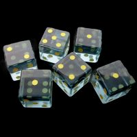 TDSO Zircon Glass Aquamarine with Engraved Numbers 16mm Precious Gem  6 x D6 Dice Set
