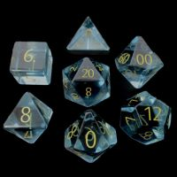 TDSO Zircon Glass Aquamarine with Engraved Numbers 16mm Precious Gem 7 Dice Polyset