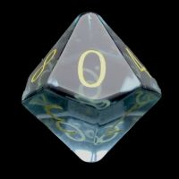 TDSO Zircon Glass Aquamarine with Engraved Numbers 16mm Precious Gem D10 Dice