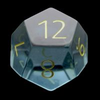 TDSO Zircon Glass Aquamarine with Engraved Numbers 16mm Precious Gem D12 Dice