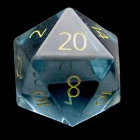 TDSO Zircon Glass Aquamarine with Engraved Numbers 16mm Precious Gem D20 Dice
